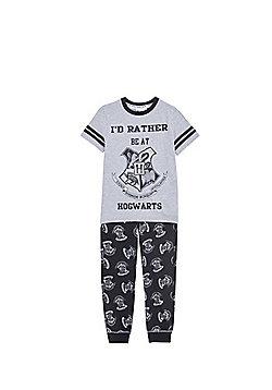 Warner Bros. Harry Potter I'd Rather Be At Hogwarts Pyjamas - Grey & Black