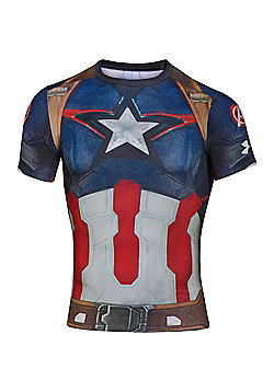 Under Armour Captain America Body Compression Baselayer Shirt - Blue