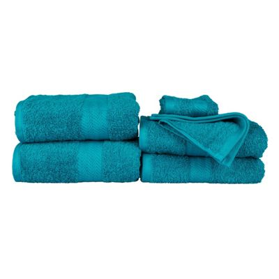 Homescapes Teal Egyptian Cotton 6 Piece Luxury Towel Bale 500 GSM