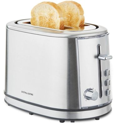 Andrew James Argentum Toaster with Warming Rack & 6 Toasting Levels - Silver