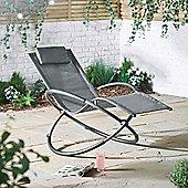 VonHaus Orb Rocking Chair - Outdoor Folding Aluminium frame Sun Lounger Features Arm and Head Rest