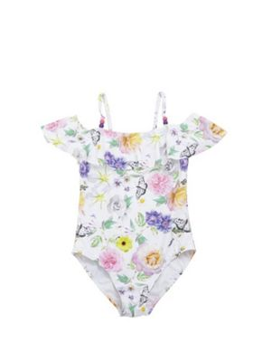 F&F Floral Bardot Swimsuit White Multi 5-6 years