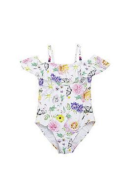 F&F Floral Bardot Swimsuit - White Multi