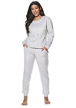 F&F Pom-Pom Fleece Pyjamas - Grey