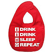 Dirty Fingers Drink Drink Sleep Repeat Baby Bib Red