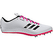 adidas Sprintstar Womens Running Spike Trainer Shoe White/Pink - UK 9