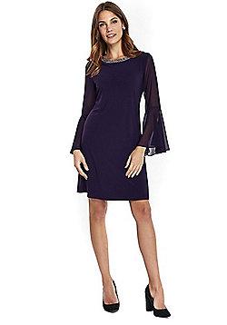 Wallis Embellished Collar Bell Sleeve Dress - Purple