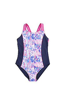 F&F Geometric Print Panel Swimsuit - Navy & Pink