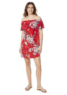 F&F Floral Print Bardot Dress Red 10