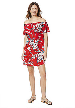 F&F Floral Print Bardot Dress - Red