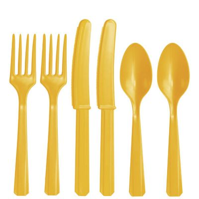 Yellow Plastic Cutlery - Assorted Party Pack - 24 Pack