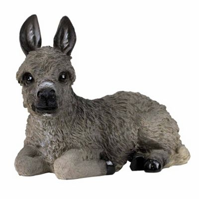 16cm Realistic Laying Grey Donkey Garden Ornament Statue