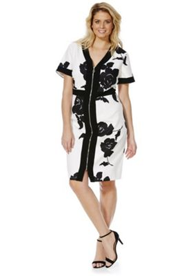 Lovedrobe Floral Zip Front Pencil Dress 24 White