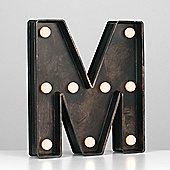 Vintage Style Battery Operated Brushed Bronze Plastic LED Light - Letter M