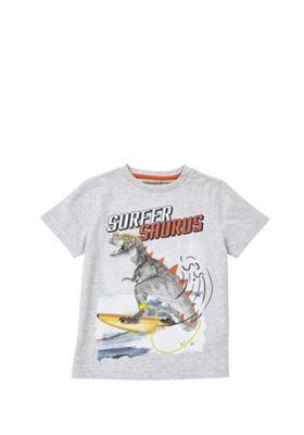 F&F Surfer Saurus Dinosaur T-Shirt Grey 12-18 months