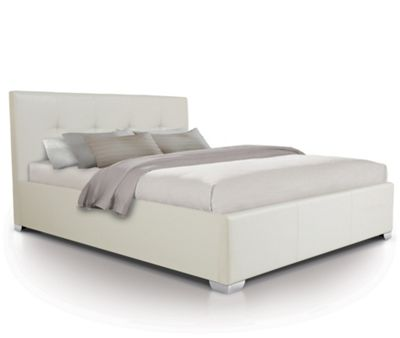 Buttoned Designer Oversized Ottoman Gas Lift Storage Bed Upholstered in Faux Leather - Double - White