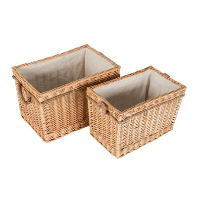 Homescapes Set of 2 Natural Willow Wicker Rectangular Storage Log Baskets with White Lining and Handles