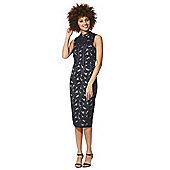 F&F High Neck Lace Pencil Dress - Navy