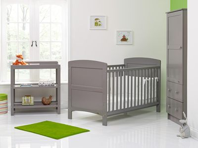 Obaby Grace 3 Piece Nursery Furniture Room Set with Sprung Mattress - Taupe Grey