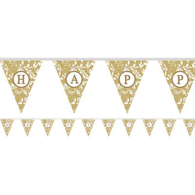 Personalise It Paper Pennant Banner - Gold - Paper 7.9m