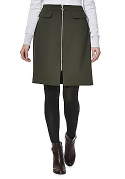 F&F Mock Pocket Zip-Through Skirt - Khaki