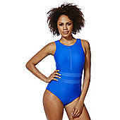 F&F Shaping Swimwear High Neck Mesh Panel Swimsuit - Cobalt