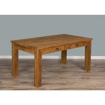2m Rustic Recycled Teak Dining Table with Drawers