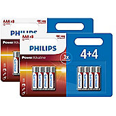 16 x Philips AAA Power Alkaline LR03 Long Lasting Batteries