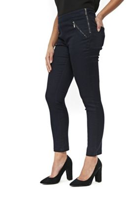 Wallis Petite Side Zip Trousers Navy 8