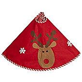 Red Felt Reindeer Christmas Tree Skirt, 80cm