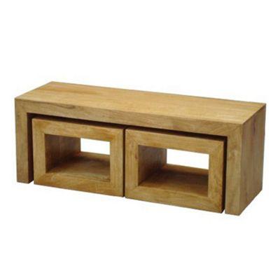 Homescapes Dakota Long John Coffee Table with 2 Cubes Oak Shade