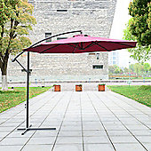 Outsunny 3m Garden Parasol Banana Umbrella Cantilever (Wine Red)