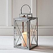 Regular Galvanised Metal Battery Outdoor LED Candle Lantern