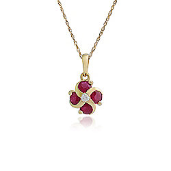 Gemondo Ruby Necklace, 9ct Yellow Gold 0.97ct Ruby & Diamond Floral Pendant on 45cm Chain