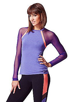 Raglan Mesh Long Sleeve Fitted Gym Top Purple-Coral - Purple