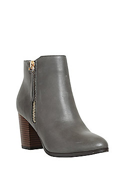 F&F Side Zip Block Heel Ankle Boots - Grey