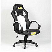 BraZen Shadow Gaming Chair - Black/White