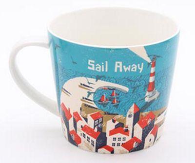 Jill White Rocket 68 Single Ahoy Sail Away Mug
