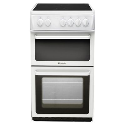 Hotpoint Newstyle Electric Cooker with Electric Grill and Ceramic Hob, HAE51P S - White