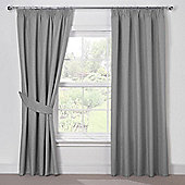 Julian Charles Luna Silver Grey Blackout Pencil Pleat Curtains - 90x90 Inches (229x229cm)