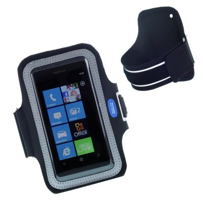 Works with Nokia Licensed N800 Athlete Fitness Sport Armband Pouch for Nokia Lumia 800 - Black