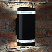 Auraglow Large Outdoor Double Up & Down Wall Light - Square - Black - Cool White