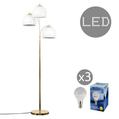 Dantzig 3 Arm LED Floor Lamp - Gold & White