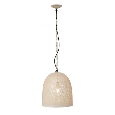 Bell Jar Punched White Elec Pendant with Gold Inne