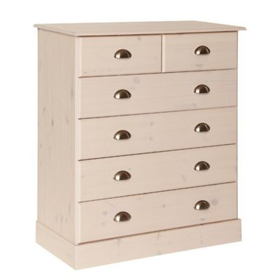 Altruna Terra 2 Over 4 Drawer Chest - White Wash Pine