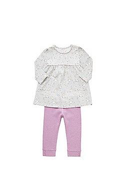 F&F Bunny Print Jersey Dress and Ribbed Leggings Set - Grey