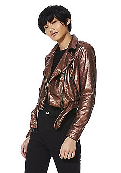 Only Metallic Faux Leather Cropped Biker Jacket - Bronze