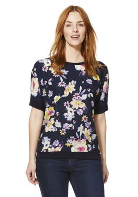 F&F Woven Floral Front Jumper Navy/Multi 16
