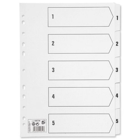 5 Star Index 230 micron Card with Clear Mylar Tabs 1-5 A4 White