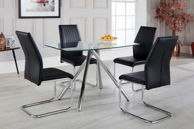 Alexa Glass And Chrome Metal Dining Table With 4 Black Lorenzo Chairs
